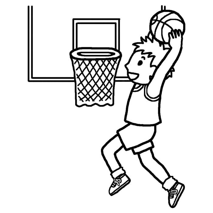 シュート 白黒 バスケットボールの無料イラスト 部活動 クラブ活動 運動部 学校素材