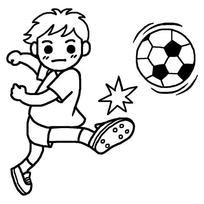 シュート(白黒)/サッカーのイラスト/部活動・クラブ活動(運動部)/学校の無料素材