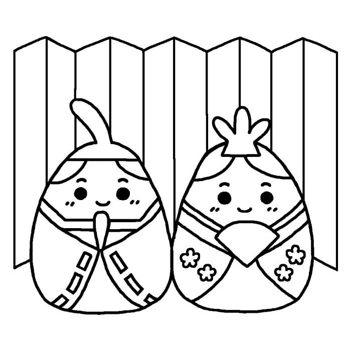 すべての折り紙 折り紙でお雛様 : たまごのひな祭り(白黒)/ひな ...