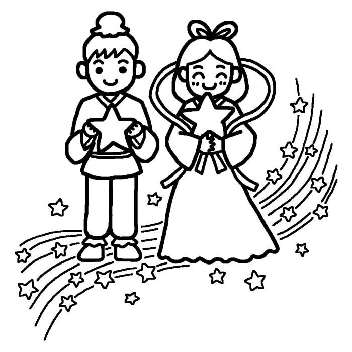 Tanabata Clip Art : 7月 イラスト 塗り絵 : イラスト