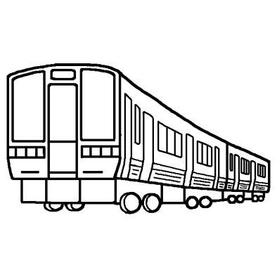 電車1(白黒)/かわいい電車(でんしゃ)のイラスト/乗り物の無料素材 電車1(白黒)/かわいい電