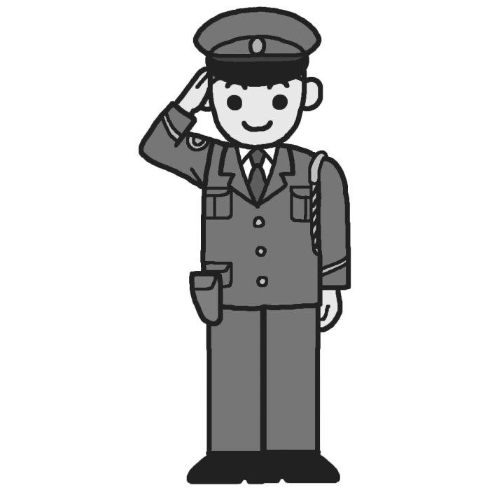 警察官(モノクロ)/働く人1/いろいろな仕事・職業の無料イラスト/人物素材 警察官(モノクロ)/