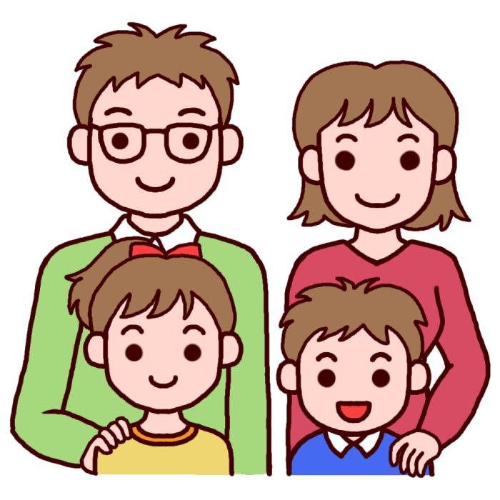 四人家族(カラー)/顔/家族・ファミリーの無料イラスト/人物素材/人物のイラスト 四人家族(カラ