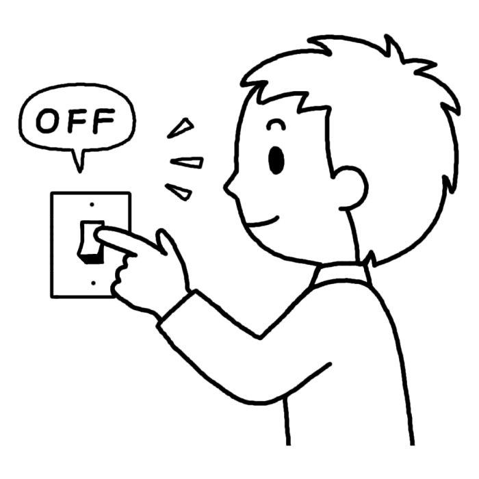 スイッチを切る(白黒)/節電/救援・ボランティアの無料イラスト1/人物素材 スイッチを切る(白黒