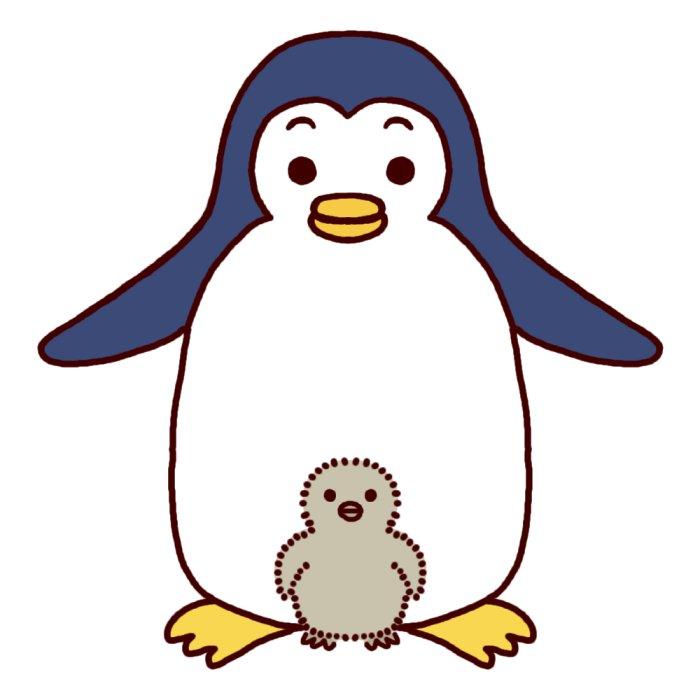 ペンギン カラー 親子 かわいい動物の無料イラスト素材