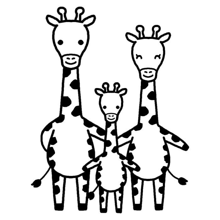 キリンの親子3匹のイラスト