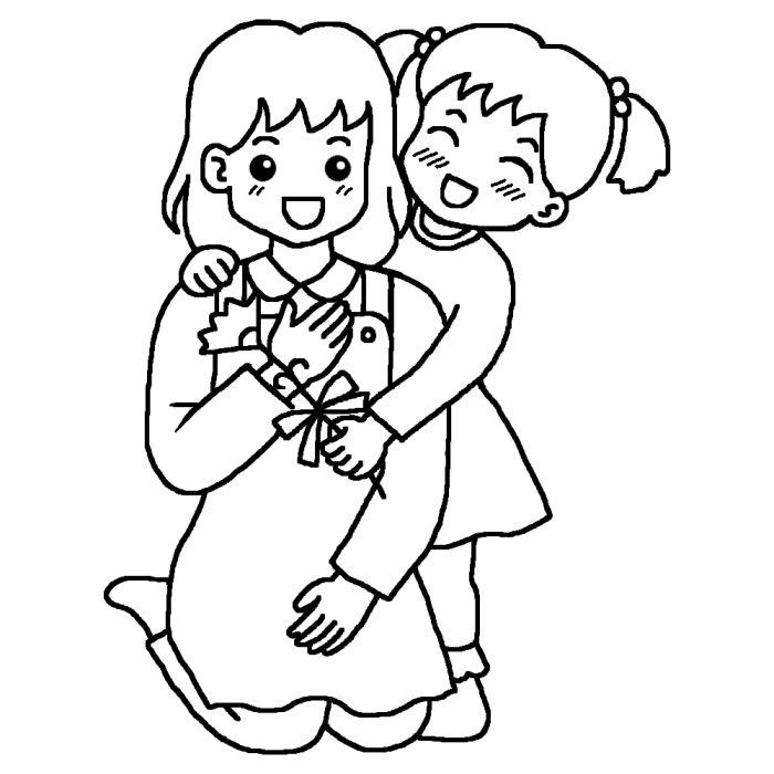 おかあさんと子供 母の日 無料 ... : 子供 塗り絵 : 子供