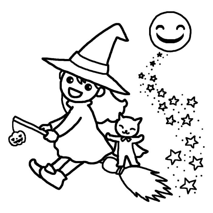 夜空の魔女 ハロウィン 無料ぬ ... : ぬり絵パズル無料 : パズル