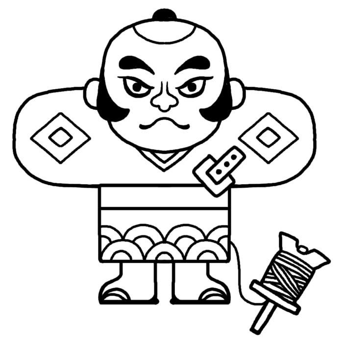奴凧・やっこだこ(白黒)/年賀状・お正月の無料イラスト/冬の季節・行事素材 奴凧・やっこだこ(白