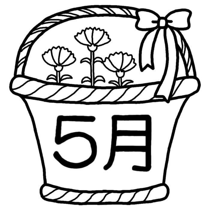カーネーション 白黒 5月タイトル無料イラスト 春の季節 行事素材