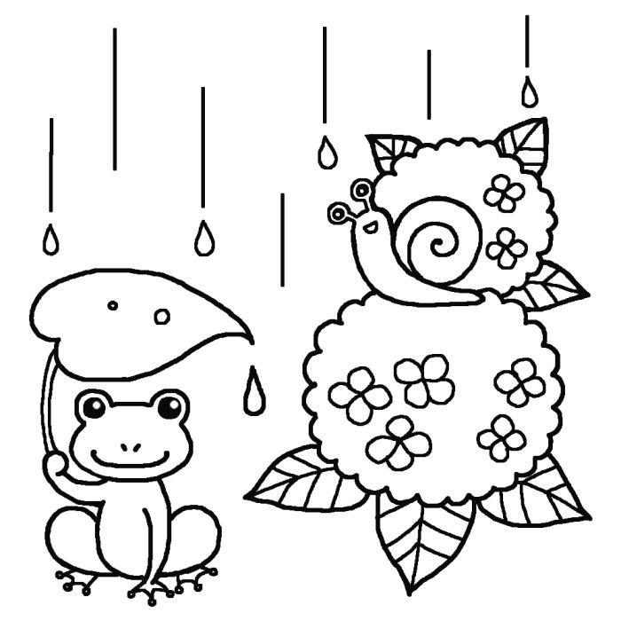 梅雨のぬりえ(塗り絵)イラスト ... : 粘土で遊ぶ : すべての講義