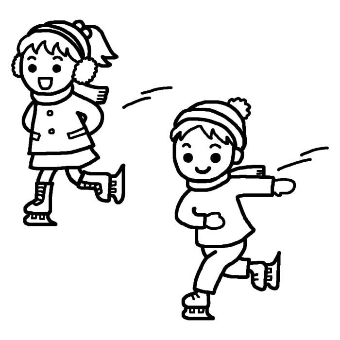 スケート(白黒)/冬のスポーツの無料イラスト/冬の季節素材 : スケートの白黒イラスト素材 -