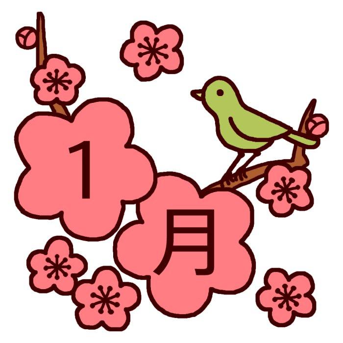 梅とうぐいす(カラー)/1月タイト...